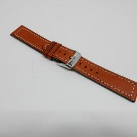 Horlogebandje Bruin breed 20 mm gestikt