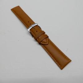 Horlogebandje 20 mm licht bruin stevig gestikt