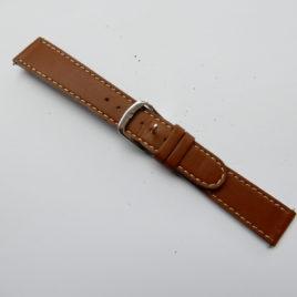 Horlogebandje 18 mm  bruin licht gestikt