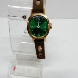 Timex groen dames met bruin suede n0 60